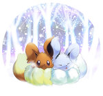 alternate_color closed_eyes commentary commentary_request creature eevee gen_1_pokemon ibui_matsumoto no_humans pokemon pokemon_(creature) purple_eyes shiny_pokemon snow tree winter