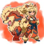 animal_ears arcanine bare_shoulders blue_footwear breasts brown_eyes cleavage cleavage_cutout dog_ears dog_tail dress eyebrows_visible_through_hair fukurou_(owl222) fur_trim gen_1_pokemon grin highres large_breasts pelvic_curtain personification pokemon pokemon_(creature) ponytail red_background red_dress red_eyes red_legwear sash sharp_teeth shoes short_hair smile solo standing tail tattoo teeth thighhighs v-shaped_eyebrows