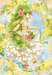 1girl anklet armlet blush breasts chikorita85 flower full_body green_eyes green_hair hair_flower hair_ornament jewelry long_hair long_skirt looking_at_viewer multicolored multicolored_background personification pokemon pokemon_(game) pokemon_dppt shaymin skirt small_breasts smile solo white_skirt