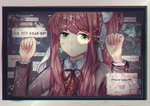 1girl broken_glass brown_hair commentary cracked_glass doki_doki_literature_club english_commentary friedraisu glass green_eyes highres long_hair looking_at_viewer monika_(doki_doki_literature_club) monitor ponytail school_uniform solo
