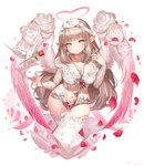 1girl :o angel angel_wings bangs bird blunt_bangs blush bow breasts brown_hair chain chastity_belt cleavage collarbone crop_top dove eyebrows_visible_through_hair falling_petals feathered_wings fingernails floral_print flower gradient_eyes gradient_wings hair_bow hair_twirling hakura_kusa halo hand_up head_tilt heart heart-shaped_pupils highres jewelry key key_necklace keyhole large_breasts long_hair long_sleeves looking_at_viewer motion_blur multicolored multicolored_eyes multicolored_wings navel necklace original petals pink_eyes pink_wings pointy_ears red_flower red_rose ring rose rose_petals rose_print shiny shiny_hair shirt sidelocks stomach symbol-shaped_pupils thighhighs very_long_hair white_bow white_flower white_legwear white_rose white_shirt white_wings wings yellow_eyes