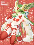 1boy androgynous android blush bow christmas crossdressing dated fur_scarf fur_trim garter_belt gift gloves green_eyes harpuia kneeling male_focus merry_christmas red_background red_bow red_footwear red_gloves rockman rockman_zero santa_costume santa_gloves scarf scccs2 solo star thighhighs