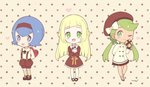 3girls :d :p alternate_costume arm_behind_back arms_behind_back baggy_pants bangs beret blonde_hair blue_eyes blue_hair blush bow box braid brown_dress brown_footwear brown_hairband brown_hat brown_legwear brown_shorts brown_skirt chibi commentary dark_skin dress english_commentary eyebrows_visible_through_hair french_braid full_body gift gift_box green_eyes green_hair hair_bow hairband hat heart heart-shaped_box holding holding_gift kneehighs lillie_(pokemon) long_hair long_sleeves looking_at_viewer low_twintails mao_(pokemon) mary_janes mei_(maysroom) multiple_girls object_hug one_eye_closed open_mouth pants pink_background pleated_skirt pokemon pokemon_(game) pokemon_sm polka_dot polka_dot_background shoes short_dress short_hair shorts sidelocks signature skirt smile standing straight_hair suiren_(pokemon) suspender_shorts suspenders swept_bangs tongue tongue_out twintails valentine white_bow