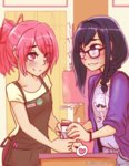 2girls absurdres akemi_homura alternate_hairstyle anthony_(madoka_magica) apron barista bespectacled black_hair blush bracelet braid brand_name_imitation cafe caffeccino casual coffee_cup coffee_maker_(object) commentary eye_contact familiar_(madoka_magica) glasses hairband heart highres hipster jewelry kaname_madoka kyubey looking_at_another mahou_shoujo_madoka_magica multiple_girls name_tag pink_eyes pink_hair ponytail purple_eyes shy spoken_heart starbucks watermark yuri