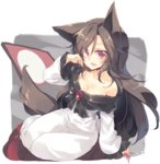 1girl animal_ears bare_shoulders black_hair brooch commentary_request dress fingernails full_body imaizumi_kagerou jewelry long_fingernails long_hair looking_at_viewer nail_polish red_eyes red_nails satou_kibi sharp_fingernails sitting solo tail touhou wolf_ears wolf_tail