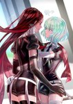 2others androgynous black_eyes black_hair blush bort colored_eyelashes diamond_(houseki_no_kuni) elbow_gloves face-to-face flyleaf gem_uniform_(houseki_no_kuni) gloves hand_on_another's_face hand_on_another's_hip highres houseki_no_kuni long_hair looking_at_another multicolored multicolored_eyes multicolored_hair multiple_others necktie pout rainbow_eyes rainbow_hair red_hair short_hair signature sweatdrop sword thick_eyebrows thighhighs very_long_hair weapon