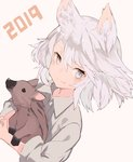 1girl 2019 animal animal_ears beige_background chinese_zodiac cropped_torso dutch_angle grey_eyes grey_hair grey_shirt holding holding_animal looking_at_viewer original pig shiromiso shirt short_hair smile solo upper_body year_of_the_pig