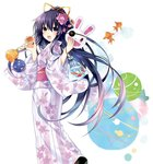 1girl apple candy_apple date_a_live fish floral_print flower food fruit goldfish hair_flower hair_ornament highres japanese_clothes kimono long_sleeves looking_at_viewer looking_back mask obi ponytail purple_eyes purple_hair sash simple_background smile solo tsunako white_background yatogami_tooka