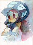 1girl absurdres black_hair bonnet bright_pupils closed_mouth crossed_arms dark_skin donnpati frown gloves hapu'u_(pokemon) highres island_kahuna long_hair pokemon pokemon_(game) pokemon_sm purple_eyes solo thick_eyebrows traditional_media upper_body watercolor_(medium) white_gloves white_pupils