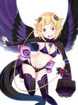 1girl :d bikini black_legwear black_shorts black_sleeves black_wings blonde_hair breasts bridal_gauntlets capella_emerada_lugnica cleavage clenched_hand demon_girl dragon_tail feathered_wings groin hair_ornament highres leg_up long_sleeves looking_at_viewer micro_shorts multicolored multicolored_wings navel nemu_mohu open_mouth outstretched_arm purple_bikini purple_wings re:zero_kara_hajimeru_isekai_seikatsu red_eyes shiny shiny_hair short_hair shorts sideboob simple_background small_breasts smile solo swimsuit tail thighhighs underboob white_background wings