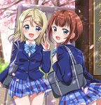 2girls :d arm_up ayase_arisa bag bangs blazer blonde_hair blue_coat blue_eyes blue_skirt blurry blush bow bowtie breasts cherry_blossoms commentary_request contrapposto dappled_sunlight day depth_of_field eneco eyebrows_visible_through_hair from_behind gate hair_between_eyes hair_ornament hairclip highres jacket kousaka_yukiho long_sleeves looking_at_viewer looking_back love_live! love_live!_school_idol_project medium_breasts medium_hair multiple_girls open_mouth otonokizaka_school_uniform outdoors petals petticoat red_hair school_bag school_uniform shirt short_hair sidelocks sign skirt smile standing striped striped_neckwear sunlight thick_eyebrows upper_body v white_shirt