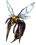 antennae bee beedrill flying fukurou_(owl222) full_body gen_1_pokemon highres mega_beedrill mega_pokemon no_humans pokemon pokemon_(creature) simple_background solo white_background wings