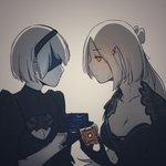 2girls absurdres android black_dress blindfold breasts cleavage core crossover dress girls_frontline hairband highres huqu looking_at_another multiple_girls nier_(series) nier_automata steyr_aug_(girls_frontline) white_hair yellow_eyes yorha_no._2_type_b