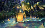 bad_id floating glowing jirachi lantern light no_humans pokemon pokemon_(creature) smile water