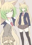1girl ahoge alternate_costume animal_ears arms_at_sides atalanta_(fate) black_legwear blazer blonde_hair cat_ears cat_tail commentary_request fate/apocrypha fate_(series) from_below green_eyes green_hair grey_background jacket multicolored_hair multiple_views nahu necktie one_eye_closed plaid plaid_skirt school_uniform sigh sketch skirt tail thighhighs thighs vest