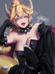 1girl absurdres armpits bangs bare_shoulders black_dress blonde_hair blue_eyes blush borrowed_design bowsette breasts breath cleavage collar collarbone colored_eyelashes commentary_request crown dress elbow_gloves feet gloves grey_background hair_between_eyes highres horns jewelry kumiko_shiba large_breasts looking_at_viewer lying mario_(series) new_super_mario_bros._u_deluxe pov_feet sharp_teeth sitting spiked_collar spikes stepped_on strapless strapless_dress super_crown super_mario_bros. tail teeth tongue tongue_out