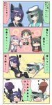6+girls animal_ears cat_ears chibi comic commentary detached_sleeves eyepatch glasses hairband haruna_(kantai_collection) hatsuharu_(kantai_collection) headgear highres japanese_clothes kantai_collection kemonomimi_mode kirishima_(kantai_collection) kiso_(kantai_collection) kuma_(kantai_collection) long_hair microphone multiple_girls nontraditional_miko puchimasu! purple_hair school_uniform serafuku short_hair tantrum tatsuta_(kantai_collection) tenryuu_(kantai_collection) translated yada_yada yuureidoushi_(yuurei6214)