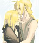 2boys alphonse_elric androgynous antenna_hair bare_arms black_coat black_shirt blonde_hair blue_background braid brothers chest closed_eyes coat covering edward_elric eyelashes fullmetal_alchemist hair_over_one_eye height_difference hug kao_(kaoree) light_smile long_hair looking_away male_focus multiple_boys nude nude_cover profile shirt siblings simple_background sleeveless smile spoilers standing two-tone_background upper_body white_background yellow_eyes