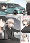 2boys 2girls ahoge artoria_pendragon_(all) blonde_hair breasts faceless faceless_male fate/grand_order fate_(series) fujimaru_ritsuka_(male) ginhaha ground_vehicle hair_ribbon hat holding_hands jeanne_d'arc_(alter)_(fate) jeanne_d'arc_(fate)_(all) large large_breasts mother_and_son motor_vehicle multiple_boys multiple_girls open_mouth pale_skin ponytail ribbon saber_alter seatbelt short_hair silver_hair smile smug sparkle surprised track_suit van yellow_eyes