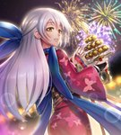 1girl blue_scarf festival fire_emblem fire_emblem:_akatsuki_no_megami fire_emblem:_souen_no_kiseki fire_emblem_heroes fireworks gonzarez highres japanese_clothes kimono long_hair looking_at_viewer micaiah night scarf silver_hair smile solo yune