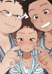 3boys :i blush brown_eyes brown_hair cheek_poking commentary_request eyebrows facial_hair fat glasses japanese_clothes male_focus multiple_boys original poking stubble sweatdrop taremayuzou