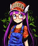 1girl bangs baseball_cap black_background blue_eyes blush camouflage clothes_writing collarbone denim dr._slump earrings glasses grin hat highres jewelry long_hair norimaki_arale overalls purple_hair red-framed_eyewear red_hat red_shirt shirt short_sleeves smile solo star star_earrings t-shirt teeth tom_(drpow) upper_body very_long_hair white_wings winged_hat wings