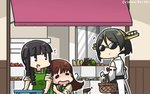 3girls apple apron bangs basket black_hair blunt_bangs boots box braid brown_hair carrot closed_eyes commentary_request cowboy_shot dated detached_sleeves drooling food fruit fruit_stand green_apron hairband hamu_koutarou headgear highres kantai_collection kirishima_(kantai_collection) kitakami_(kantai_collection) long_hair multiple_girls nontraditional_miko onion ooi_(kantai_collection) orange persimmon potato pumpkin purple_eyes remodel_(kantai_collection) ribbon-trimmed_sleeves ribbon_trim school_uniform serafuku short_hair sidelocks single_braid squash sunglasses thigh_boots thighhighs