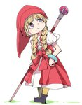 1girl :t blonde_hair braid child closed_mouth dragon_quest dragon_quest_xi dress hat ixy long_hair looking_up pout pouty_lips purple_eyes red_dress red_hat simple_background solo staff standing twin_braids veronica_(dq11) white_background