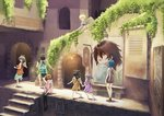 6+girls absurdres angel_wings aqua_skirt arch barefoot black_hair black_legwear blonde_hair blue_hair brown_hair dress grey_hair haibane_renmei hair_over_one_eye halo highres kawamranciel lantern long_hair medium_hair multiple_girls no_shoes outdoors painting pink_shirt purple_dress restaurant running school_uniform serafuku shirt short_hair shorts sign sitting skirt stairs thighhighs white_wings wings wristband