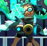 1girl aiming_at_viewer artist_name bangs bike_shorts black_shirt black_shorts blunt_bangs blurry blurry_background cape commentary crazy_eyes crazy_smile depth_of_field domino_mask fangs foreshortening glowing glowing_eyes green_hair grey_cape hanako515_ika head_tilt headgear hero_shot_(splatoon) highres holding holding_weapon hypnosis inkling long_sleeves mask mind_control shirt shorts signature single_vertical_stripe solo sparkle splatoon_(series) splatoon_2 splatoon_2:_octo_expansion squidbeak_splatoon tentacle_hair torn_clothes vest weapon yellow_vest