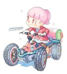 1girl :> black_legwear blazer commentary_request doubutsu_no_mori ground_vehicle ink_tank_(splatoon) jacket mario_kart mario_kart_8 motor_vehicle pantyhose pink_hair ponytail red_eyes simple_background skirt smile urayamashiro_(artist) vehicle villager_(doubutsu_no_mori) white_background