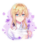 1girl black_ribbon blonde_hair blue_eyes blush closed_mouth collared_shirt eyebrows_visible_through_hair flower hair_ribbon holding holding_flower looking_at_viewer medium_hair ribbon seungju_lee shirt smile solo upper_body violet_(flower) violet_evergarden violet_evergarden_(character)