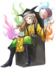 1girl absurdres aura blonde_hair boots brown_eyes brown_hair daiquiri drum fire flame hat highres instrument long_hair looking_at_viewer matara_okina open_mouth sitting smile solo tabard throne touhou white_background wide_sleeves yellow_eyes