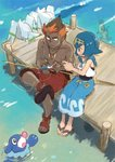 1boy 1girl alternate_color baggy_pants black_hair blue_hair capri_pants feebas fishing_rod jewelry kaki_(pokemon) lure multicolored_hair necklace pants pier pokemon pokemon_(creature) pokemon_(game) pokemon_sm popplio pyukumuku sandals shiny_pokemon short_hair sitting smile suiren_(pokemon) swimsuit two-tone_hair wanozy water wingull