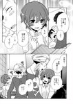 blush comic monochrome persona persona_4 photo_(object) photo_album sayu030b shirogane_naoto short_hair smile tatsumi_kanji translation_request
