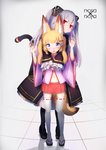 2girls absurdres animal_ears arms_up bell black_dress black_legwear blonde_hair blue_eyes cat_ears detached_sleeves dress empty_eyes fake_animal_ears fox_ears fox_tail fukutchi grey_hair hair_ornament hairclip hands_together highres hug hug_from_behind jingle_bell kemomimi_oukoku_kokuei_housou long_hair mikoko_(kemomimi_oukoku_kokuei_housou) miniskirt multiple_girls nora_cat nora_cat_channel open_mouth pantyhose pink_shirt red_eyes red_skirt sandals shirt shoes skirt smile tabi tail thighhighs twintails two_side_up virtual_youtuber white_legwear