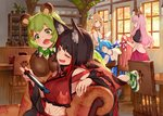 5girls :3 :d absurdres animal_ear_fluff animal_ears animare armchair bare_shoulders bat_ears bear_ears bear_hair_ornament black_hair blanket blonde_hair brown_eyes bunny_ears chair closed_eyes commentary_request covering_with_blanket cup cutlery detached_sleeves dog_ears eyebrows_visible_through_hair fox_ears gloves green_eyes green_hair hair_ornament hairclip haneru_channel highres hinokuma_ran holding inaba_haneru_(animare) inari_kuromu indoors izumi_sai japanese_clothes kimono long_hair long_sleeves multicolored_hair multiple_girls nintendo_switch one_eye_closed open_mouth paw_gloves paw_print paws pink_hair plant plate potted_plant puffy_short_sleeves puffy_sleeves red_eyes red_kimono red_skirt sailor_collar saliva shoes short_sleeves sitting skirt sleeping smile smug sneakers souya_ichika streaked_hair teacup thick_eyebrows tray umori_hinako vest virtual_youtuber white_vest window