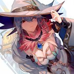 1girl bangs blue_hair blurry blurry_background breasts chain character_request cleavage closed_mouth commentary_request detached_sleeves dress dutch_angle from_above fur_collar grimms_echoes hair_between_eyes hat jewelry large_breasts long_hair one_eye_closed pendant red_eyes solo walzrj white_dress witch_hat