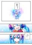 1girl absurdres bare_shoulders blue_eyes blue_hair blush bouquet bow canvas_(object) closed_eyes comic drawing easel flower hair_bow hatsune_miku headset highres holding holding_bouquet long_hair microphone shirayuki_towa smile translated twintails very_long_hair vocaloid