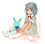 1girl aqua_hair between_legs blush brown_eyes bunny drawing dress frills hair_ornament hair_ribbon hand_between_legs looking_at_viewer no_shoes original plaid plaid_dress ribbon short_hair sitting socks stuffed_animal stuffed_toy tan_(tangent) twintails