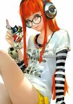 1girl artist_name atlus catherine_(game) glasses headphones highres jpeg_artifacts keychain koromaru kuma_(persona_4) looking_at_viewer morgana_(persona_5) official_art orange_hair parted_lips persona persona_3 persona_4 persona_5 sakura_futaba sheep short_shorts shorts smile soejima_shigenori solo undershirt upper_body