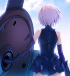 1girl armor armored_dress bare_shoulders commentary_request cowboy_shot elbow_gloves fate/grand_order fate_(series) from_behind gloves mash_kyrielight purple_hair shield short_hair sky solo standing yangsion