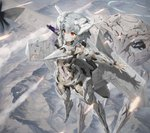 1girl ace_combat ace_combat_7 amputee blood blood_on_face bullet_hole character_name damaged flying from_above highres human_shield injury mecha_musume missile mountain mq-101 parts_exposed personification red_eyes shadow short_hair silver_hair tom-neko_(zamudo_akiyuki) war