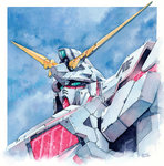 commentary gundam gundam_unicorn hector_trunnec highres mecha no_humans nt-d traditional_media unicorn_gundam watercolor_(medium)