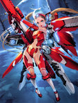 1girl absurdres aqua_eyes blonde_hair breasts brown_hair cable floating_hair full_body gun headgear highres holding holding_gun holding_weapon lights long_hair looking_at_viewer mecha_musume mechanical_wings medium_breasts navel open_mouth original outstretched_arm planet smile solo space space_craft star_(sky) stomach takayama_toshiaki twintails weapon wings