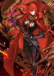1girl black_gloves bodysuit boots breasts cape fate/grand_order fate_(series) gloves greaves grin hair_over_one_eye highres karlwolf katana long_hair looking_at_viewer oda_nobunaga_(fate) oda_nobunaga_(maou_avenger)_(fate) red_eyes red_hair sheath sheathed skull smile solo sword weapon