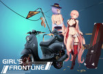 2girls bachsnov bare_shoulders black_bikini_top black_footwear black_gloves black_hat black_pants blue_background breasts breasts_apart brown_eyes bullet butt_crack case choker copyright_name cross-laced_footwear english eyebrows_visible_through_hair flower_tattoo girls_frontline gloves ground_vehicle hat head_tilt high_heels highres leaning_back long_hair looking_at_viewer medium_breasts motor_vehicle multiple_girls navel ots-14_(girls_frontline) pants parted_lips pink_hair purple_hair railing red_eyes red_legwear scooter short_shorts shorts signpost single_thighhigh skull_print smile standing star striped striped_legwear stuffed_animal stuffed_toy sunglasses tattoo teddy_bear thigh_strap thighhighs thompson_submachine_gun_(girls_frontline) unbuttoned v-shaped_eyebrows vertical-striped_legwear vertical_stripes very_long_hair white_shorts