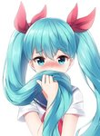 1girl bangs blue_eyes blue_hair blush bow eyebrows_visible_through_hair hair_between_eyes hair_bow hair_over_mouth hatsune_miku highres holding holding_hair long_hair mk82_(hoonsyh) neckerchief red_bow red_neckwear shirt short_sleeves solo twintails upper_body very_long_hair vocaloid white_shirt