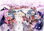 5boys 5girls absurdres bangs bare_shoulders bell black_hair blonde_hair blue_eyes blue_hair blush blush_stickers breasts bridal_veil brown_hair capelet cherry_blossoms cleavage closed_eyes collarbone commentary commentary_request couple darling_in_the_franxx dress english_commentary fangs flower futoshi_(darling_in_the_franxx) glasses gorou_(darling_in_the_franxx) green_eyes green_shorts grey_dress grey_legwear grey_shirt hair_ornament hairband hand_up hat hetero highres hiro_(darling_in_the_franxx) holding holding_bell holding_hands horns huge_filesize ichigo_(darling_in_the_franxx) ikuno_(darling_in_the_franxx) jewelry kokoro_(darling_in_the_franxx) light_brown_hair long_hair long_sleeves looking_at_another medium_breasts miku_(darling_in_the_franxx) military military_uniform mitsuru_(darling_in_the_franxx) multiple_boys multiple_girls necktie oni_horns peaked_cap petals pink_hair purple_eyes red_hair red_horns red_neckwear ring shirt shorts sleeveless sleeveless_dress socks temodemo_nor thick_eyebrows tree uniform veil wedding wedding_dress wedding_ring white_dress white_hairband yellow_eyes zero_two_(darling_in_the_franxx) zorome_(darling_in_the_franxx)