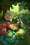 dappled_sunlight forest gen_1_pokemon gen_2_pokemon gen_3_pokemon gen_4_pokemon gen_5_pokemon kuroi-tsuki leaf log meganium nature no_humans pokemon pokemon_(creature) sceptile serperior sleeping sunlight toothpick torterra tree venusaur